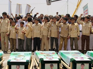 Yemen war: Mass funeral held for children killed in bus attack
